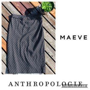 Maeve Geometric Black/White Anthro Pencil Skirt L